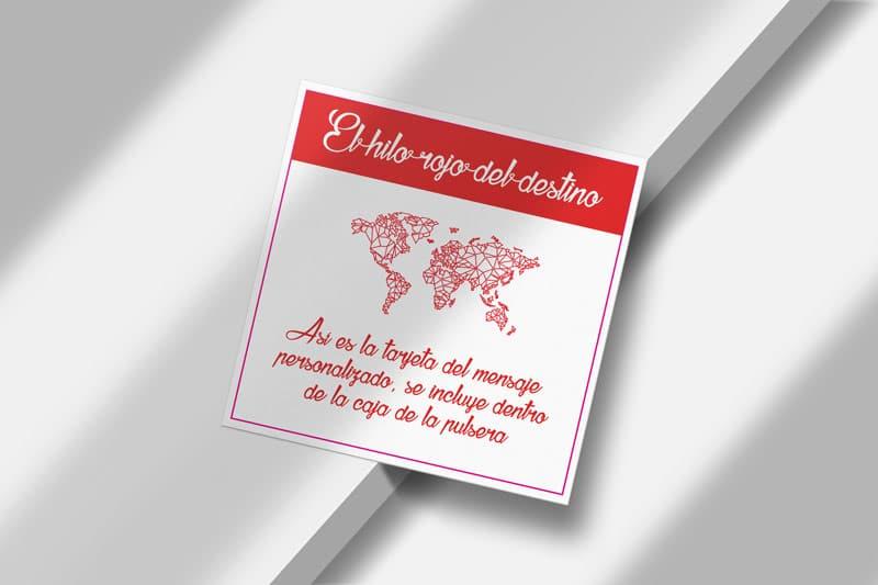 Muestra de mensaje personalizado de la tarjeta de la pulsera del hilo rojo del destino